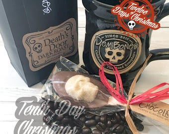 On the tenth day of Christmas - ten coffee inspired gifts // DemBones // edible mini sugar skull // secret santa // skull gifts