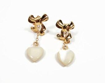 14K Gold Mother of Pearl Heart Earrings, Yellow Gold, Bow Earrings, Gifts for Her, Dangle Earrings, Estate Jewelry, Pierced Ears