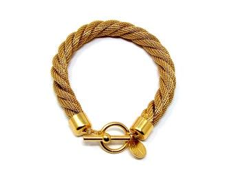 Vintage Anne Klein Gold Tone Rope Toggle Bracelet