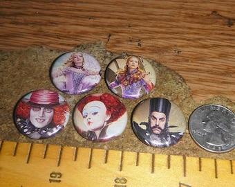 TIM BURTON'S Alice in Wonderland 5 Buttons one inch pinback badge set