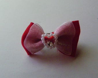 Little Red & White Pearl Heart Hair Bow  1100