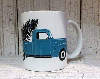 Tree Farm Christmas mug, Turquoise pick up truck mug, Christmas mug, truck with tree
