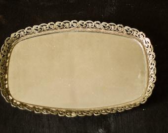 Vintage Oval Mirror Tray