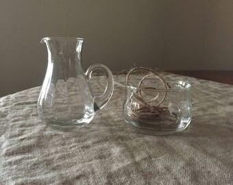 Fabulous glass jug and sugar bowl .Vintage kitchen / Jug collection. My VINTAGE home