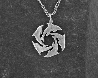 Sterling Silver Dolphins Pendant on a Sterling Silver Chain