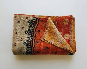 Vintage Kantha Quilt - Orange and Navy Boho Bedspread - Modern Bohemian Decor - Summer Blanket