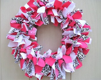 Rag Wreath, Pink Wreath, Fabric Door Wreath, Girls Room Decor, Black White Wreath, Cloth Wreath, Baby Bridal Shower Decor, Valentines Wreath