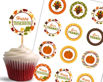 Thanksgiving Cupcake Toppers, Give Thanks Printable Cupcake Toppers, Thanksgiving Theme Party Decorations - Instant Download - DP454