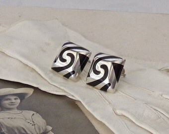 Vintage Sterling Silver Earrings Clip On Black and Silver Abstract Design 925 Signed 1960s