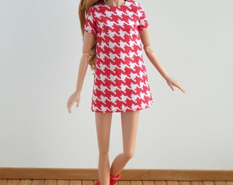 Red and white hounds-tooth shift dress for Poppy Parker or Barbie Made to Move, Model Muse, Pivotal or New Silkstone
