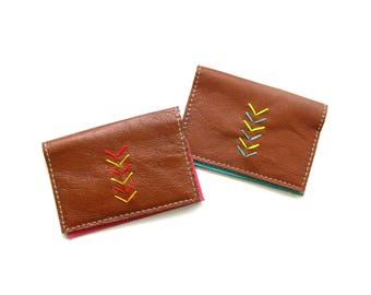 Simple Leather Fold Wallet | Chevron Embroidered Leather Card Case | Credit Card Case | Business Card Holder | Minimalist Leather Wallet
