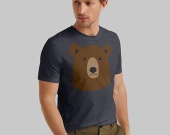 Bear t-shirt, navy blue mens t-shirt, mens clothing, boyfriend t-shirt, mens graphic tee