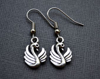 Silver Swans . Earrings