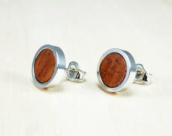 Beautiful studs, Round rhodium earrings, Mini stud earrings, Dainty studs, Tiny burgundy earrings, Wooden stud earrings, Small earring studs