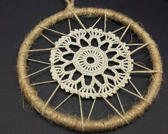 Crochet Medallion, Small Crochet Doily in a Jute Wrapped 4 inch Ring, Dream Catcher Starter Hoop, Dreamcatcher Supplies Ring
