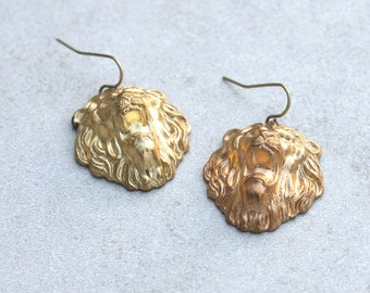 Proud Lion Punched Brass Earrings // Lion Jewelry // Gift for Her // Boho Chic Jewelry // Vintage Style Jewelry // Festival Earrings