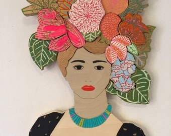 Wooden Lady with Colorful Floral Headdress