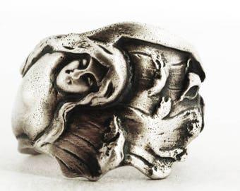 Mermaid Ring in Size 7.5, Sterling Silver Spoon Ring, Art Nouveau Mermaid, 925 Ocean Jewelry, Silver Mermaid Spoon Ring, Gift for Her (7007)