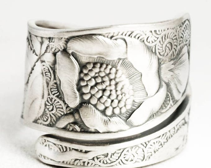Rose Ring, Sterling Silver Spoon Ring, Art Nouveau Ring,Wild Rose Ring, Rose Bud Flower Jewelry, Adjustable Ring Size, Towle Silver (7027)