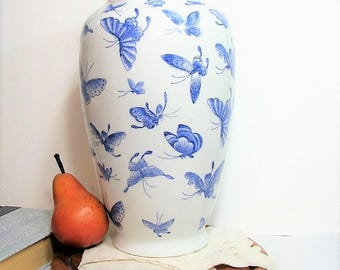 "Large Blue White Porcelain Vase, Vintage Chinoiserie 12"" Tall Vintage Flower Vase, Chinese Blue Butterflies on White"