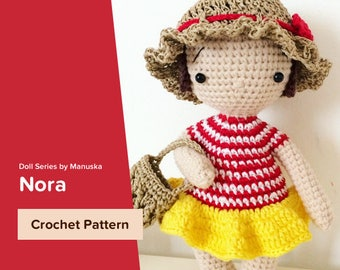 Nora | Pattern, One Piece Doll Pattern, Crochet Doll Pattern, Amigurumi Pattern, Pdf Pattern