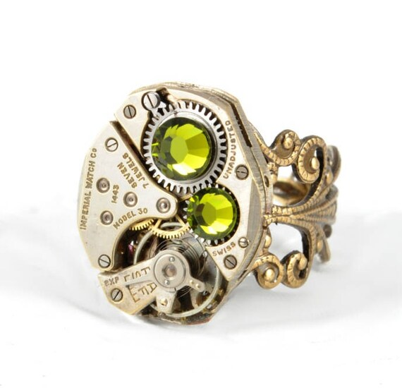 OLIVE GREEN Steampunk Ring Steam Punk Steampunk Watch Ring Antique Brass Ring Vintage Style Victorian Steampunk Jewelry VictorianCuriosities