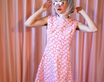 Pink Floral 60s Shift Dress, Sleeveless