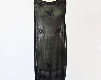 1920s Black Silk Chiffon Beaded Dress Flapper Dress