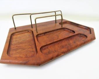Vintage Valet Tray | Solid Walnut Tray | Mens Jewelry Organizer | Wood Valet Butler