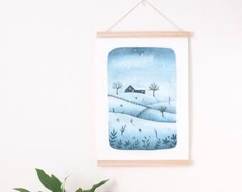 blue winter print, Winter illustration, winter landscape print, winter wall decor, winter art print christmas art print christmas wall decor