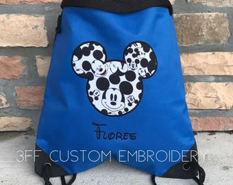 MICKEY or MINNIE 2 Pocket Canvas Drawstring Backpack Personalized and Embroidered