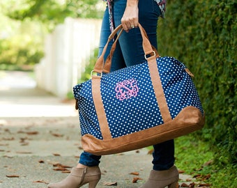 Personalized Polka Dot Weekender Bag-Embroidered Monogram Included