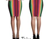 Sarape Mexican blanket Pencil Skirt Knee Length Stretch Elastic Waistband by Paulina