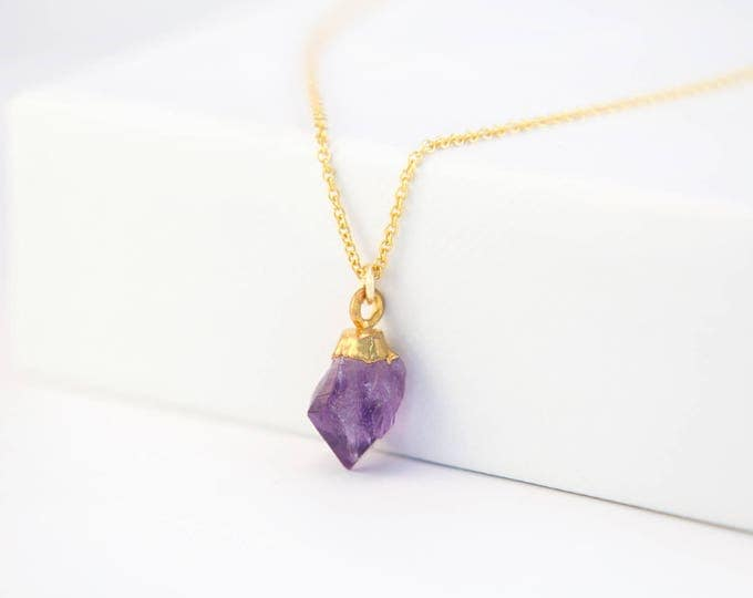 Featured listing image: Raw Purple Amethyst Necklace, 14k Gold Filled February Birthstone Necklace, Rough Crystal Necklace, Delicate Gemstone, Gift for Best Friend