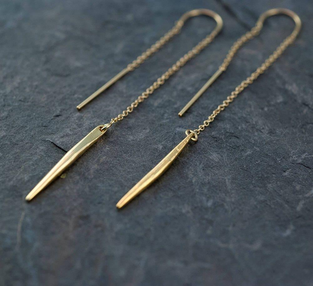Gold Ear Thread Earrings  Ear Threader Earrings  Minimal Jewelry  Long  Gold Dangle Earring  Spike Charm  Needle Charm Earrings