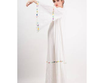 Vintage Mexican wedding maxi dress / 1960s White embroidered cotton caftan / Angle wing sleeves  M
