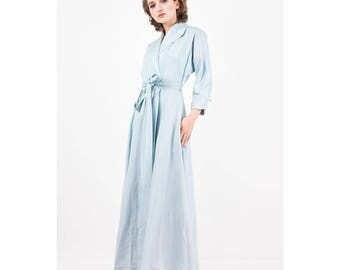 Vintage dressing gown / 1940s 1950s baby blue rayon faille full length wrap robe / Dolman sleeve / Hollywood Glamour / S M