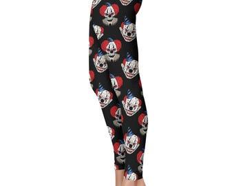 Scary Clown Leggings, Capris or Yoga Pants • Halloween Leggings