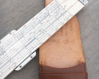 Collectible Sans & Streiffe Sliding Ruler -Electronics Ruler with Custom Leather Carrying Case