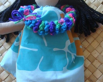 Hula Baby light blue with teal and orange tapa print 14inches