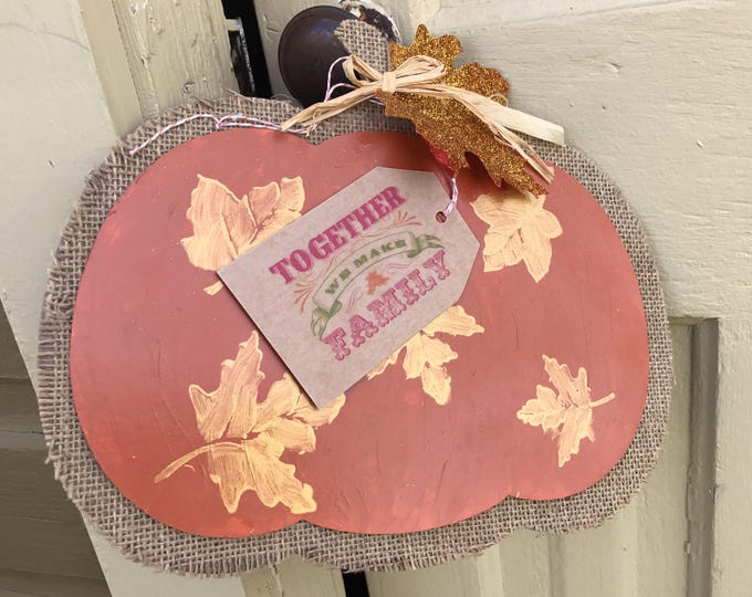 Rustic Pumpkin Sign, Hand painted, Glittered, Fall Decor, Autumn Leaves, Gold