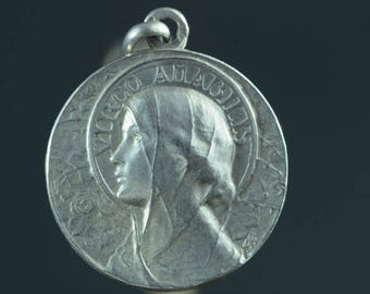 """Vintage Holy Virgin Mary Silver Virgo Amabilis Amiable Virgin Religious Medal Pendant on 18"""" sterling silver rolo chain"""
