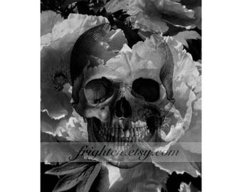 Black and White Creepy Skeleton Art Skull and Flowers Mixed Media Collage Halloween Decor Dark Wall Art 8x10 Print