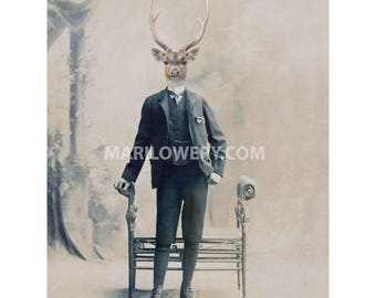 Stag Art, Deer in Suit Victorian Animal in Clothes Masculine Wall Art 5x7 or 8x10 Print, Collage Print