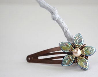 Dainty Iridescent Blue Flower Hair Clip