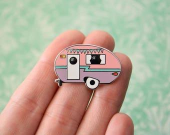 Camper Enamel Pin - V2 - Retro Pin - Vintage Camper - Caravan - Lapel Pin - Bunting Pin - Hard Enamel Pin - Pastel Pin - Camping