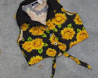 Sunflower Crop Top 1990s Floral Cotton Belly Shirt Size XS 7BD
