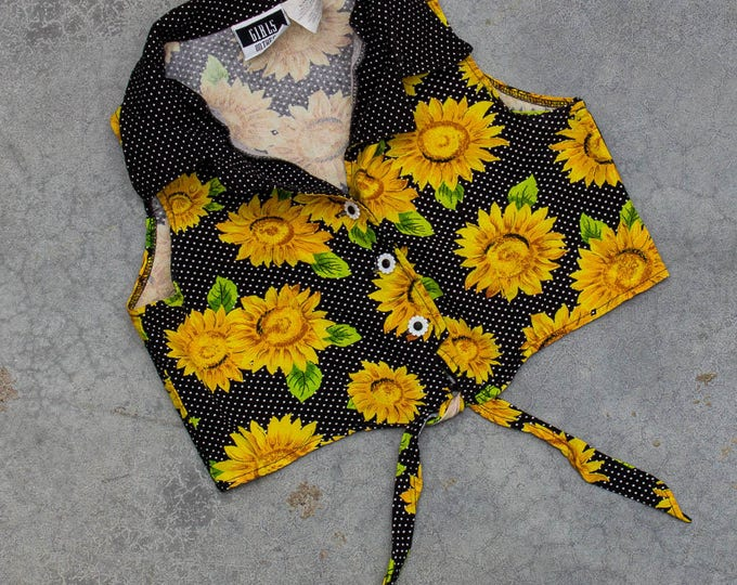Sunflower Crop Top 1990s Floral Cotton Belly Shirt Size XS 7BD