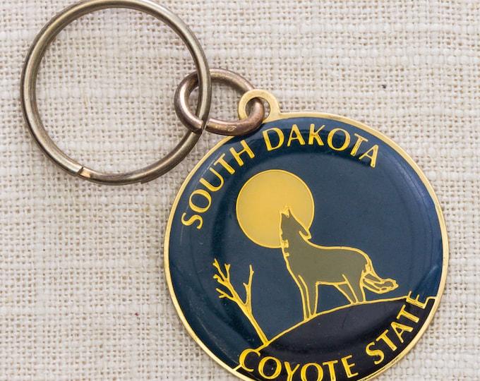 South Dakota Vintage Keychain Coyote State USA Howl at the Moon Key FOB Brass Key Chain 7KC