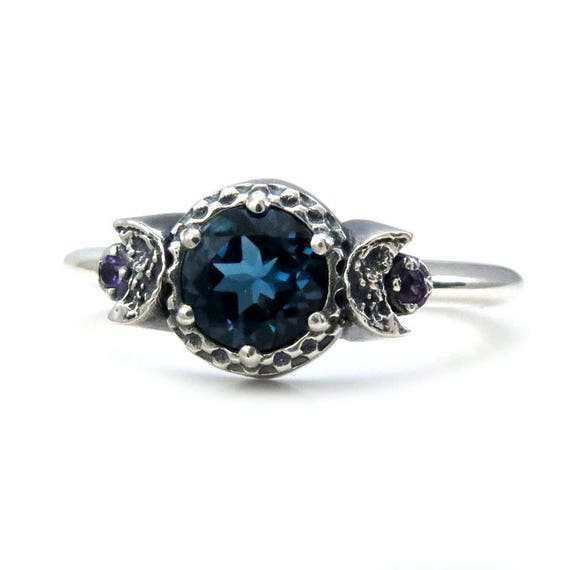 London Blue Topaz 3 Stone Moon Ring with Amethyst Side Gems - Sterling Silver Engagement Ring